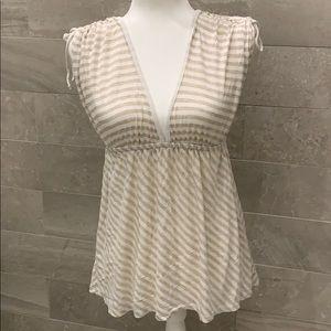 Ella Moss Cream Tan Sleeveless Top Shirt Medium M